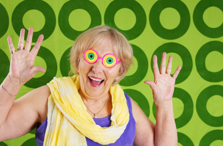 humour: Humorous cool grandmother with crazy glasses Stock Photo