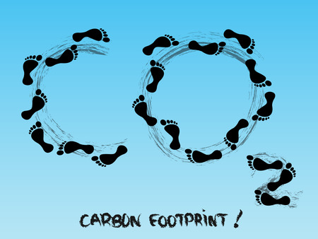 carbon footprint: Carbon footprint symbol in the sky