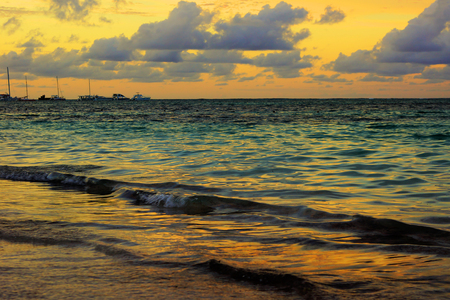 Golden hour sunset on the sea, HDR