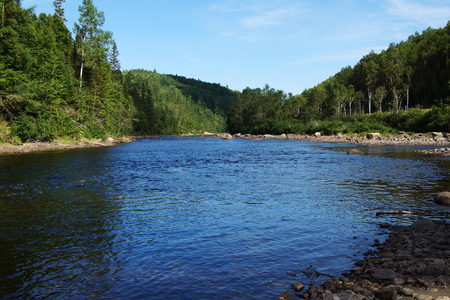 Beautiful salmon river in Quebec, Canada