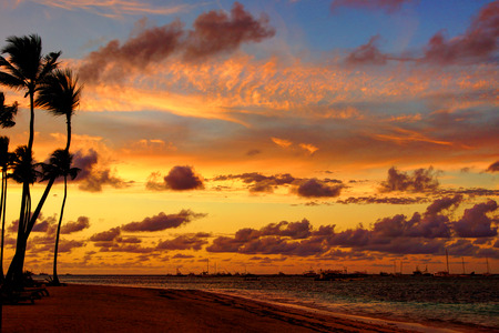 Beautiful tropical sunset, HDR