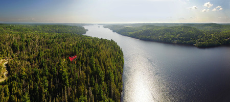 Aerial panoram view of the Saguenay river in Quebec, Canada