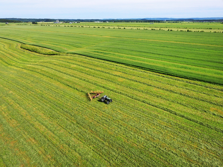 Aerial view of farmer on tractor swathing the field for harvest Stock fotó - 90884519