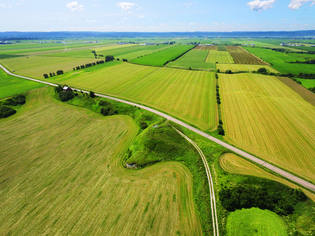 Aerial view of countryside colorful fields