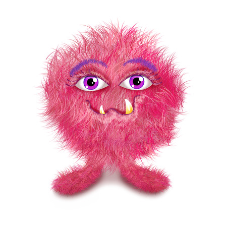 Funny furry monster ball, pinke and purple