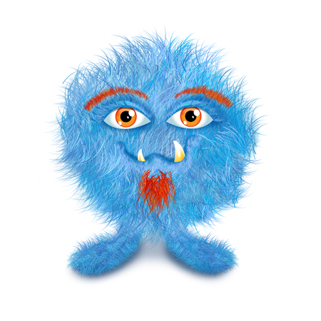 Funny furry monster ball, blue with orange goatie