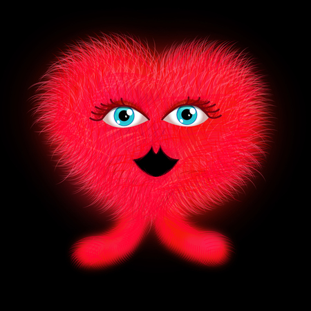 Funny furry red heart shape Valentine monster Stock Photo