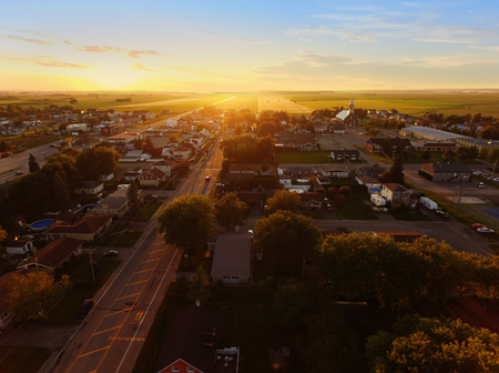 Aerial view of sunset on a small town Stock fotó - 96144075