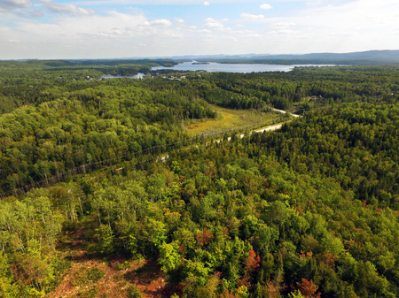 Aerial of beautiful boreal forestwith lake and mountains Stock fotó