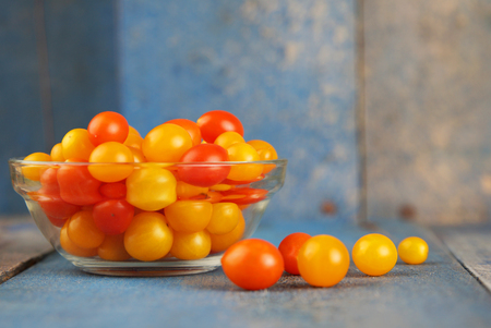 Delicious and colorful yellow and red cherry tomatoes Stock fotó