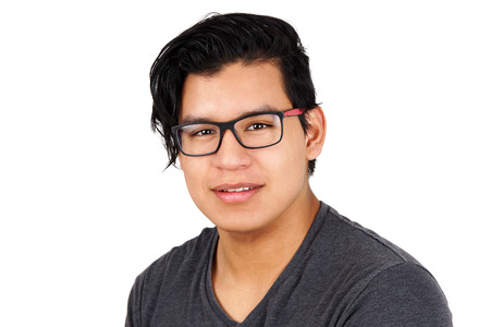 Portrait of young hispanic man with glasses, isolated Stock fotó