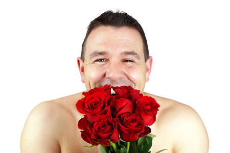 Funny shirtless man with bouquet of red roses concept Stock fotó - 103325181