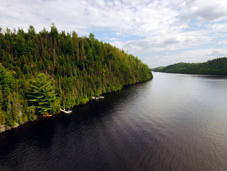 Aerial view of a North American river, Saguenay, Quebec, Canada Stock fotó