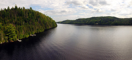 Panoramic aerial view of a large river, Saguenay, Quebec, Canada