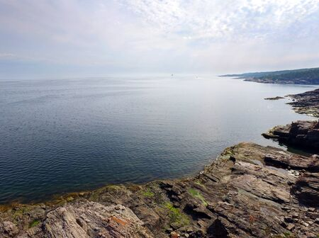Aerial view of rugged coastline, St.Lawrence river, Quebec, Canada
