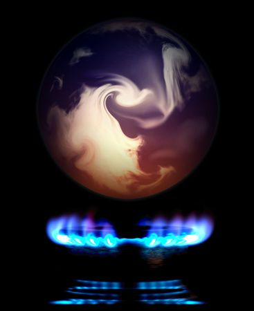 Earth Globe Floating over a Gas Flame