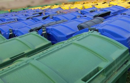 public waste: Refuse Recycling Containers - Green, Blue, Yellow