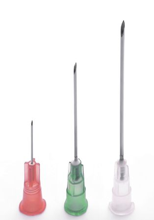 Close-up of Hypodermic Needles - 3 different sizes.