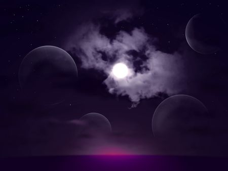 A Dark, Surreal Landscape - Glassy spheres under a moonilt sky Stock Photo