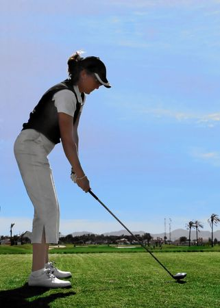 Lady Golfer on Tee Stock Photo - 2659851