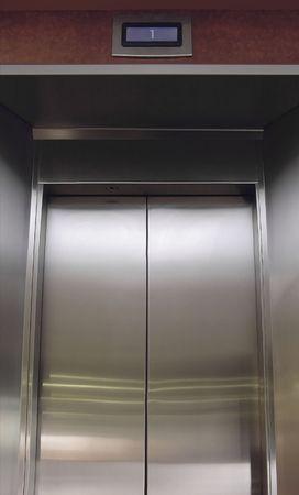 building regulations: Elevator Doors Stock Photo