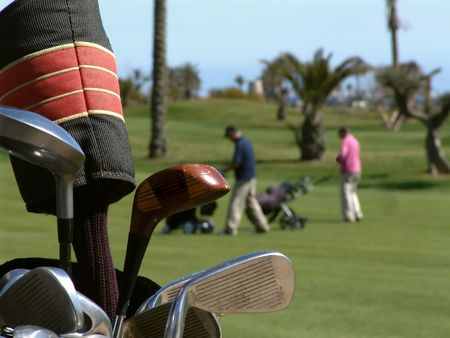 Golf Clubs and Players Stock Photo