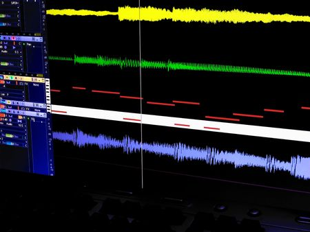 recordings: Screen of a a digital audio workstation in a sound studio