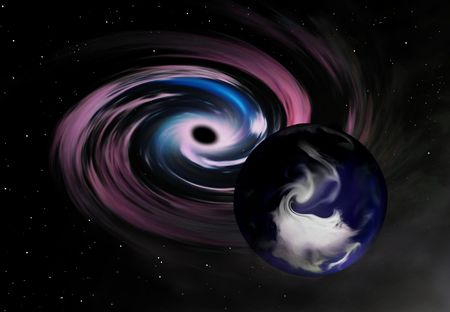 Earth close to a black hole (artistic simulation).