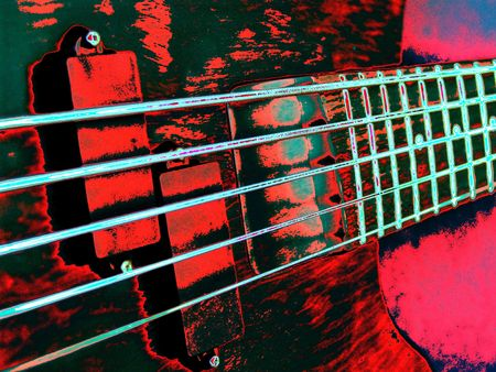 bass guitar: Funky psychedelic guitar with neon shades on pink and green.