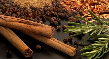Herbs and spices including cinnamon, pepper, chilli