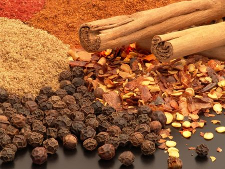 Spices - cinnamon, pepper, chilli, ginger, paprika