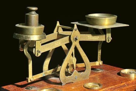 depth measurement: Old brass balance scales.