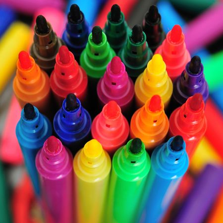 many colored: Rainbow assorthemt of coloured pens.