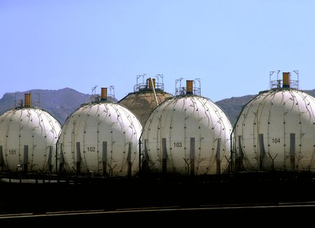 LPG Storage Tanks Stock Photo