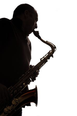 blues: Tenor saxophone player silhouette against white Stock Photo