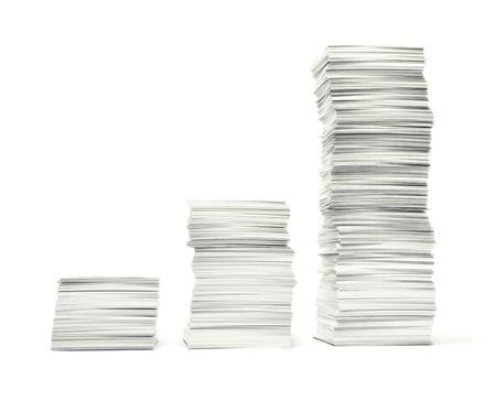 Groeiende stapels papierwerk