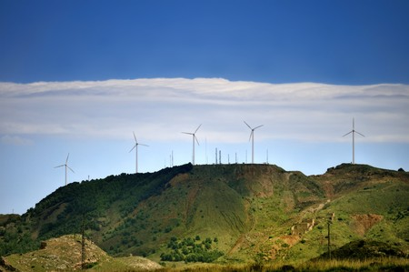 Disused mine works and wind turbines, Sierra Mineria, La Union, Cartagena, Spain
