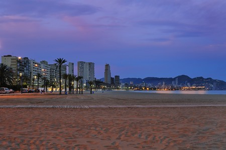Benidorm Poniente Beach at Dusk Stock Photo