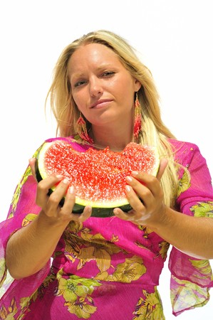 Girl with a slice of watermelon. Stock Photo