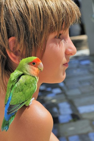 Girl with pet bird companion