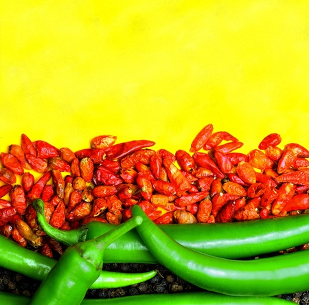 Hot pepper theme with red green and yellow.
