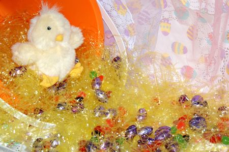 Escaping chick from Easter basket