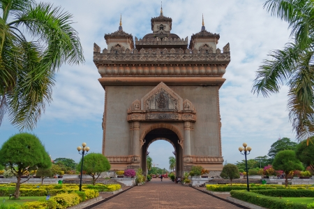 Monument Patuxai, the victory gate of Vientiane  Laos  photo