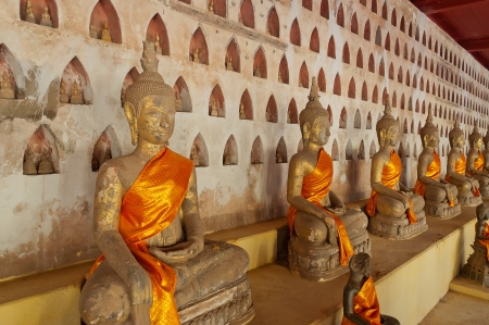 Buddha sculptures at Wat Sisaket  Vientiane  Laos  photo
