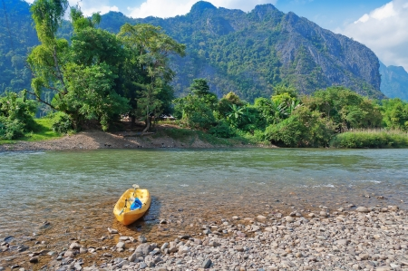 Nam Song River in Vang Vieng. Laos photo
