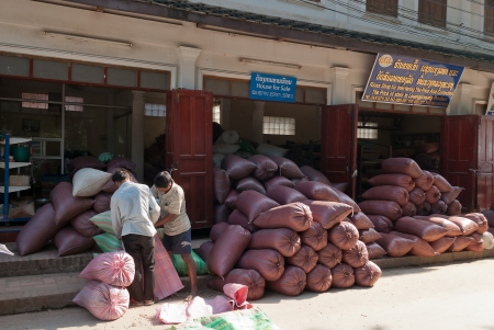 Two men work with sacks of grain in house for sale. Luang Prabang. Laos.