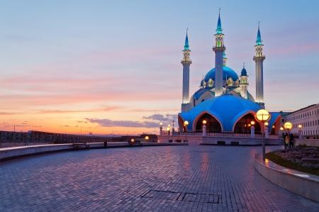 Kul Sharif moskee in Kazan Kremlin bij zonsondergang. Kazan. Rusland. Stockfoto