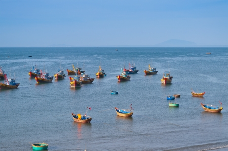 Fishing village with a bunch of fishing boats  Mui Ne  Vietnam photo
