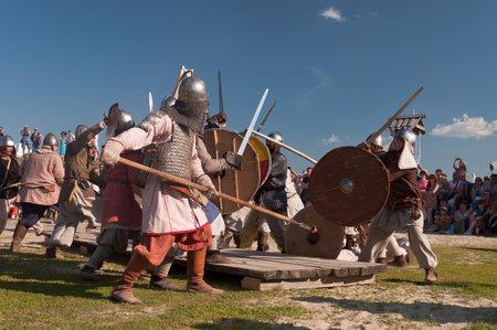 TOBOLSK, RUSSIA - JULY 6: Medieval fight at a historical reenactment festival Abalaksky field  held in Abalak village on July 6, 20132, in Tobolsk, Siberia, Russia