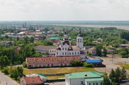 Downtown of Tobolsk and view on Church of Zakhariya and Elizabeth. Siberia. Russia photo